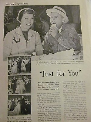 Just For You, Bing Crosby, Jane Wyman, Full Page Vintage Clipping