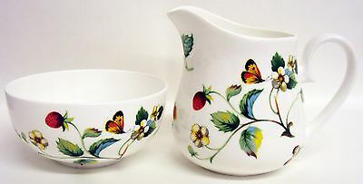 Strawberries & Butterflies Sugar Bowl and Milk Jug / Creamer Set Fine Bone China