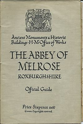 MELROSE ABBEY Official Guide 1936 HMSO illustrated history & foldout plan