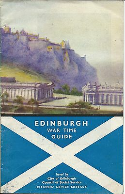 EDINBURGH WW2 War Time 1942 Official Guide info illustrated map Forces Allies