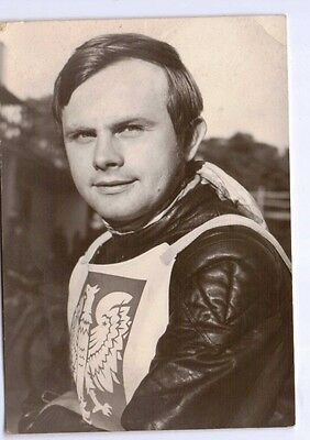 1970's Polish postcard Jerzy Szczakiel Speedway rider and World Champion