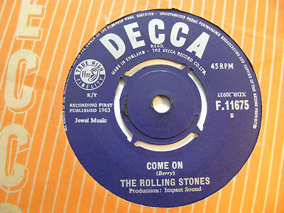 """THE ROLLING STONES Come On   Decca 1963 UK Beat 7"""""""