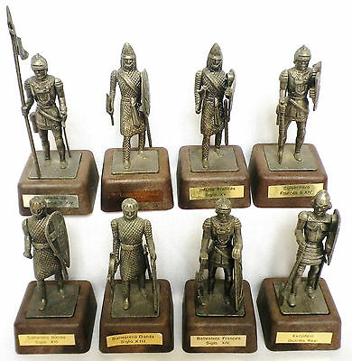 """VINTAGE MEDIAEVAL KNIGHT/SOLDIER FIGURES x8-METAL-2 1/2""""-SPANISH-GREAT CONDITION"""