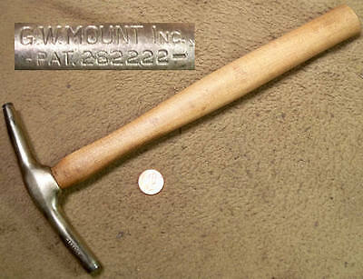 G W Mount Patent Brass Head Magnetic Tack Hammer Good Shape Collectible Tool
