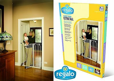 "Regalo Easy Step Extra Tall Walk Thru Gate, White 41"" Tall New Free Shipping USA"