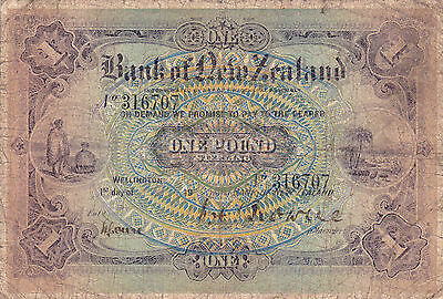 Hyper Rare Vg 1 Pound Sterling From Bank Of New Zealand 1916-20!pick-S225!