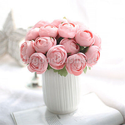 1 Bouquet Pink Artificial Rose Lotus Silk Flower Leaf Wedding Party Decor Craft
