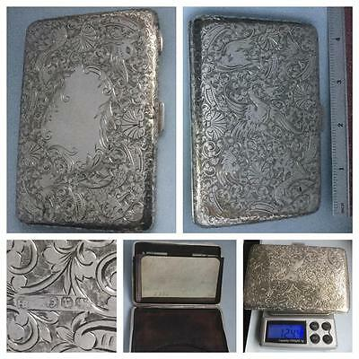 A Beautifully Engraved Victorian Silver Card Case/aide Memoire Hm B'ham 1891
