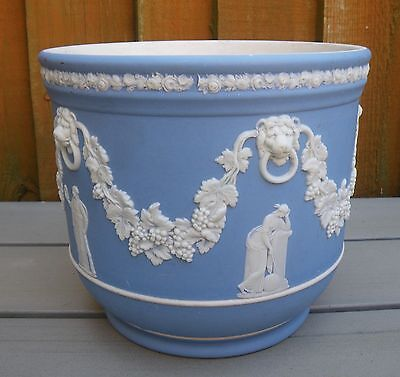 Antique Wedgwood Large Blue Jasper Ware Jardiniere ~ The Muses