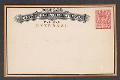 BRITISH CENTRAL AFRICA 2d. RED EXTERNAL POSTCARD POSTAL STATIONERY