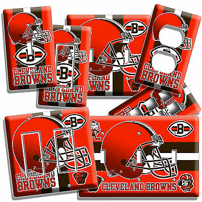 Cleveland Browns Football Team Light Switch Outlet Wall Plate Cover Man Cave Art