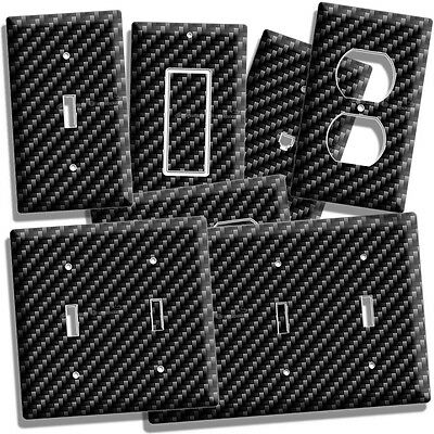 Carbon Fiber Style Light Switch Outlet Cover Wall Plate Man Cave Garage Hd Decor