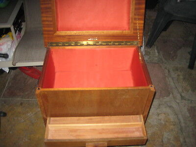 Vintage English large wooden sewing knitting box by Arnold on casters