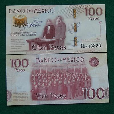 2016 MEXICO 100 pesos note Mexican 1917-2017 100 anniv. Constitution CRISP