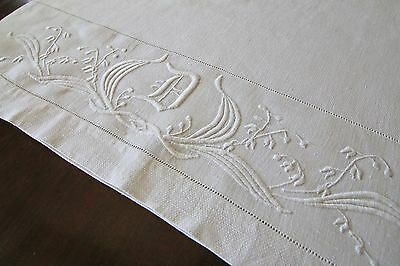 "Fine Antique Linen 45"" Towel with Beautiful Monogram D & Embroidery"