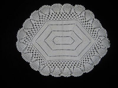 "Antique 13 1/2"" x 10 1/2""  Oval Hand made Crochet Lace Centerpiece Doily"