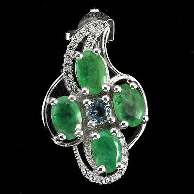 Exquisite Natural Green Emerald Sky Blue Topaz Cz 925 Sterling Silver Pendant Nr