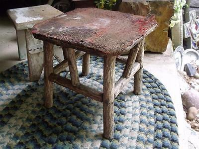 Rustic Primitive Antique Hand Made Log Foot Stool Milking Stool