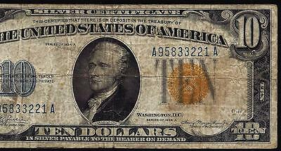 1934A $10 North Africa Silver Certificate Banknote WWII US Emergency Yellow Seal