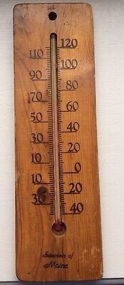 Vintage Wood Souvenir Of Maine Thermometer