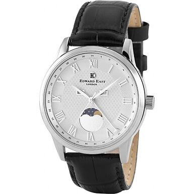 RRP £490 Edward East Mens Moonphase Stainless Steel Black Leather Strap Watch