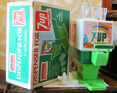 Old 1970's Toy 7 Up Soda Dispenser W 3 Cups In Orig. Box Chilton The Uncola