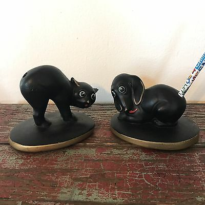 Vintage ABCO Pair Dog & Scaredy Cat Pencil/Pen Holders Alexander Backer Desk Art