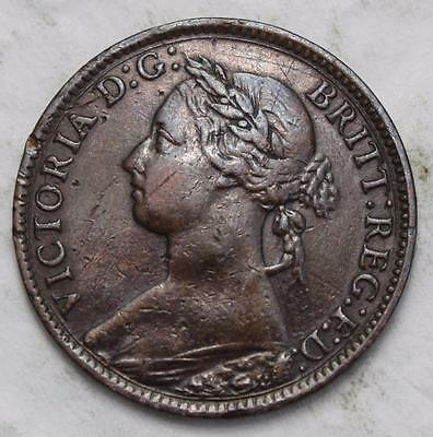 Great Britain 1886 Farthing, Nice Grade, Old Date Queen Victoria