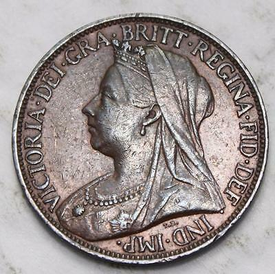 Great Britain 1895 Farthing, Nice Grade, Old Date Queen Victoria