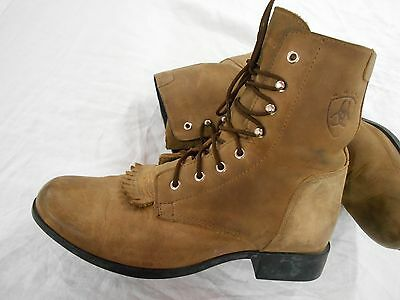 ARIAT SHORT womens BROWN leather ANKLE Cowboy Boots SHOES SZ 8