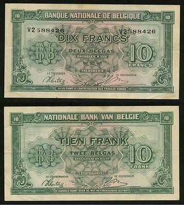 Currency 1943 Belgium Kingdom in Exile Banknote 10 Francs or 2 Belgas P122 XF++