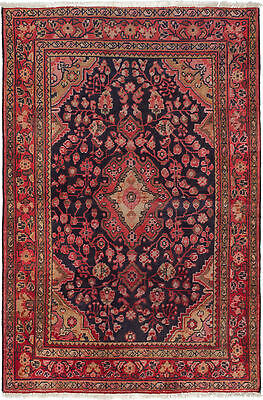 "Hand-knotted Persian Carpet 4'2"" x 6'4"" Arak Vintage Wool Rug"