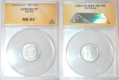 Rare One Year Type 1929 Egypt Silver Coin Two Piastres King Fuad ANACS MS 63 BU