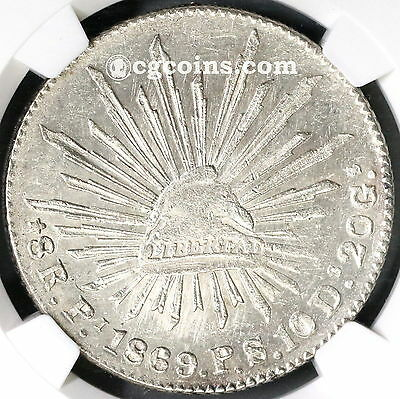 1869-Pi NGC AU 58 MEXICO Silver 8 Reales Coin (17061902C)