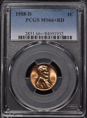 1958-D Lincoln Wheat Penny Cent ~ PCGS MS66+ RED PLUS! ~ STUNNING! #1932