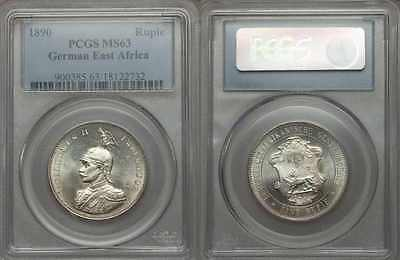 1890 Uncirculated One Rupie/Rupee Silver Coin German East Africa PCGS MS63