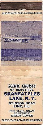Stinson Boat Line - Skaneateles Lake NY New York - FS Matchbook Cover Matchcover