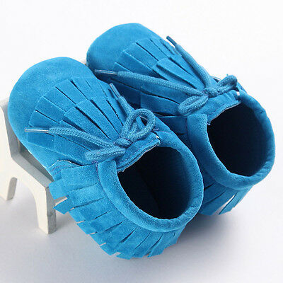 Baby Tassel Soft Sole Leather Shoes Infant Boy Girl Toddler Moccasin 12 US