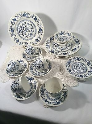 Set of 24 Wedgewood? Blue Heritage, Made in England, China  Plates, Bowls  Cups