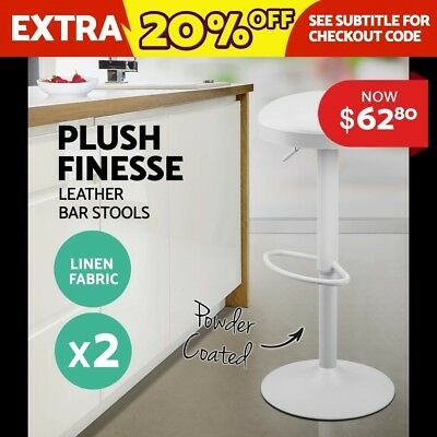 2X Bar Stools PU Leather Chrome Kitchen Cafe Barstool Chair Gas Lift White 1429