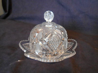 Vintage Clear Crystal Glass Dome Butter/Cheese Dish