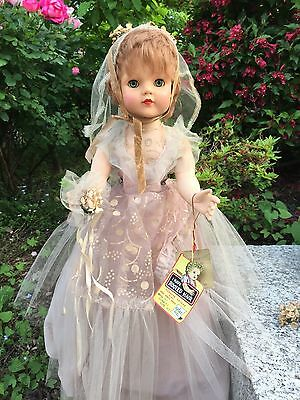 "New/Old Stock Vintage 27"" Hard Plastic Doll VINYL Face BRIDESMAID by Eegee tags"