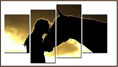 NEW - 4 Canvas Panel Wall Art - MY BEST FRIEND - Girl with Horse. Ride Cowgirl