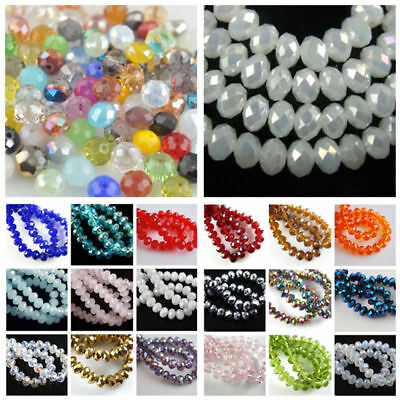 Lots Crystal Glass Faceted Rondelle Loose Spacer Beads 3mm 4mm 6mm 8mm Pick New