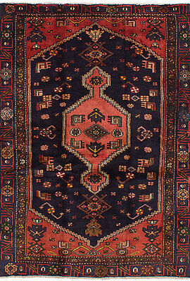 "Hand-knotted Persian Carpet 4'2"" x 6'5"" Nahavand Traditional Wool Rug"