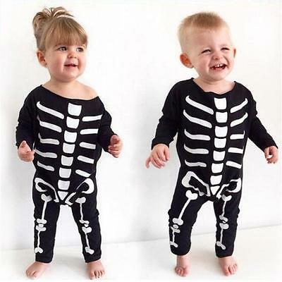 Baby Girls Boys Halloween Costume Skeleton Romper Jumpsuit Bodysuit Cotton 90 US