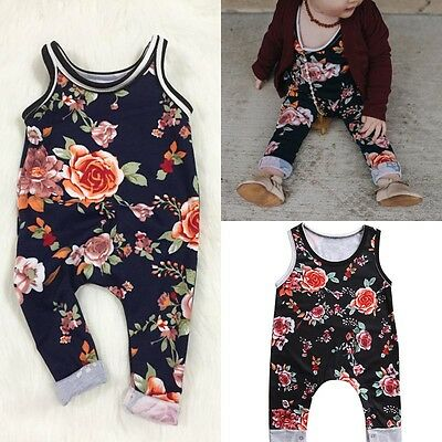 Newborn Infant Baby Girl Floral Bodysuit Romper Jumpsuit Clothes Outfits Sunsuit