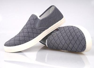 Mens Canvas Casual Slip On Leisure Breathable Driving Loafers Shoes Gray US8.5