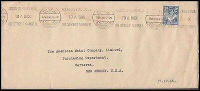 Rhodesia Northern 1945 Kgvi Cover To Us (Id:677/d46038)