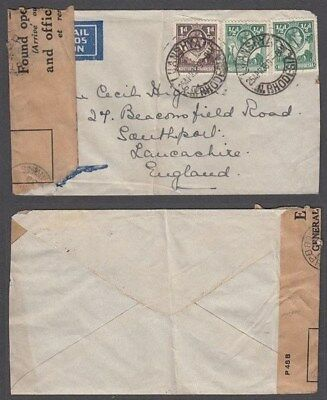 """Rhodesia Northern 1938 Airmail Cover To England """"Found Opened"""" (Id:677/d46039)"""